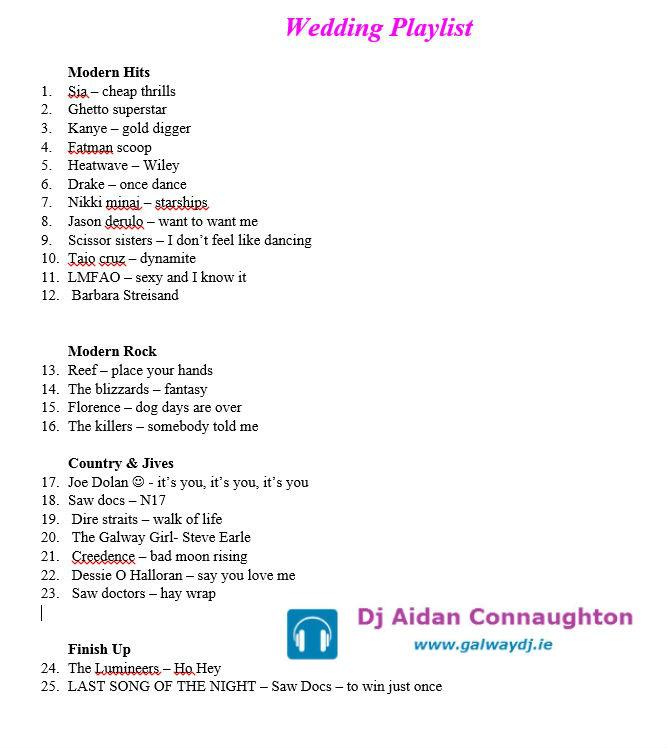 Galway Wedding Dj Playlist
